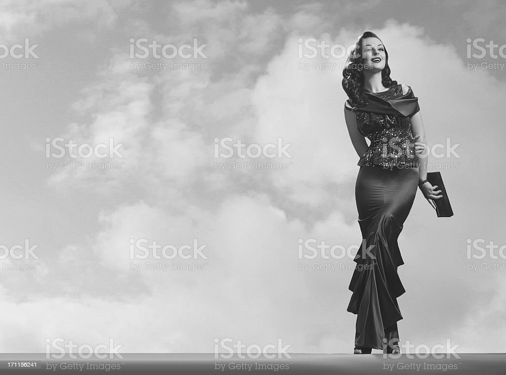 Black and white photo of old Hollywood style elegant woman stock photo