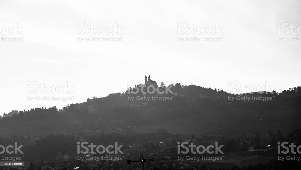 Black and White Photo of Poestlingberg Church stock photo
