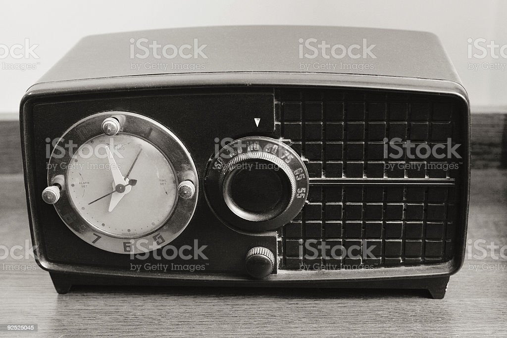 Black and White Photo of Retro Radio royalty-free stock photo