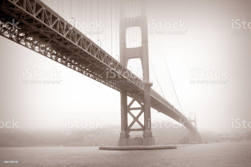 Black and white photo of the Golden Gate Bridge royalty-free stock photo