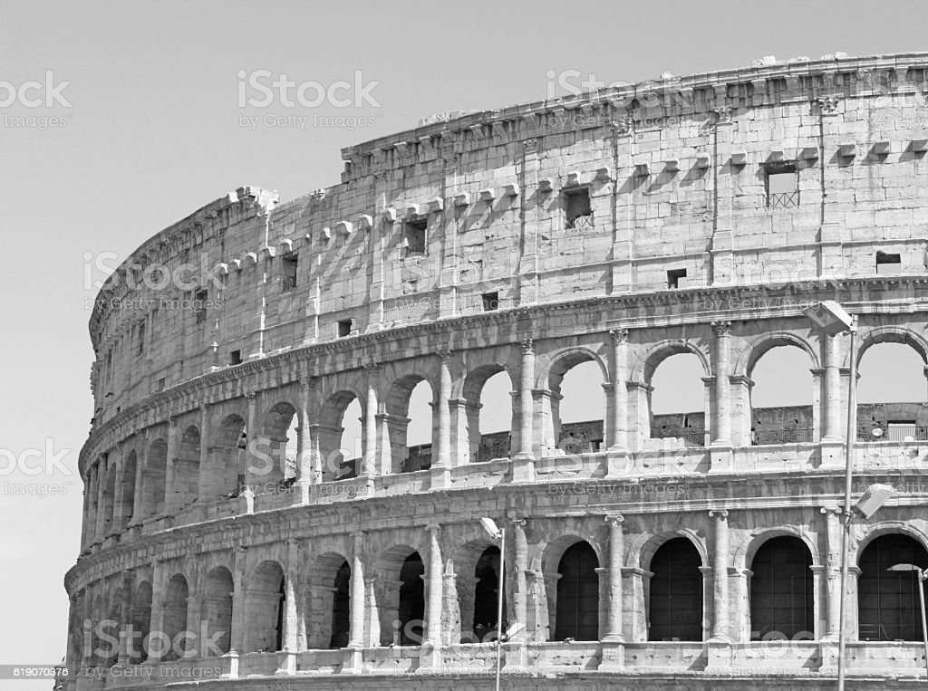 Black and white photo of the great Colosseum in Rome stock photo