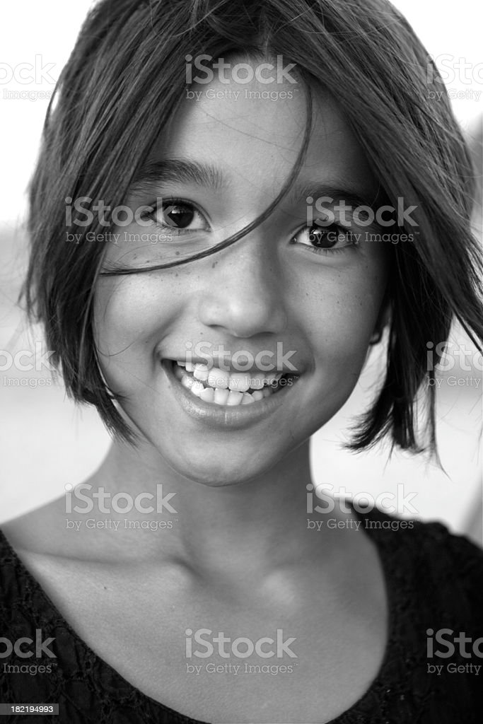 Black and white photograph of beautiful child royalty-free stock photo