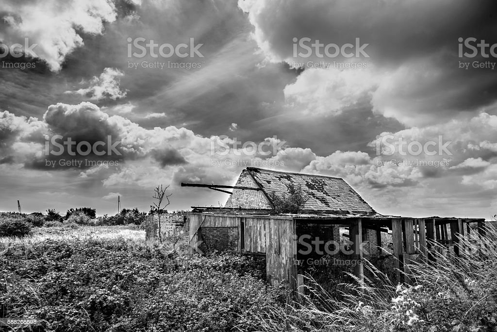 Black and White Photograph of Old Farm stock photo