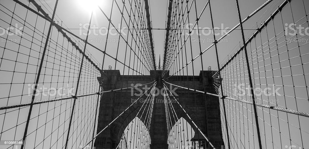Black and white photograph of the Brooklyn Bridge stock photo