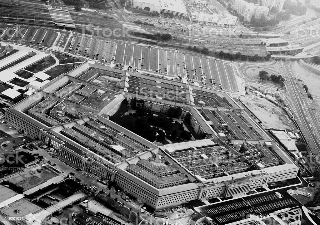 A black and white photograph of The Pentagon from the air stock photo