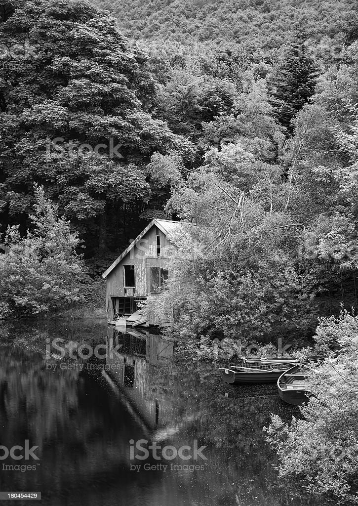 Black and white picture derelict boathouse boats landscape royalty-free stock photo