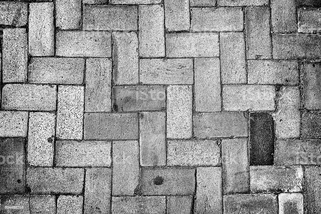 Black and white picture of a sidewalk stock photo