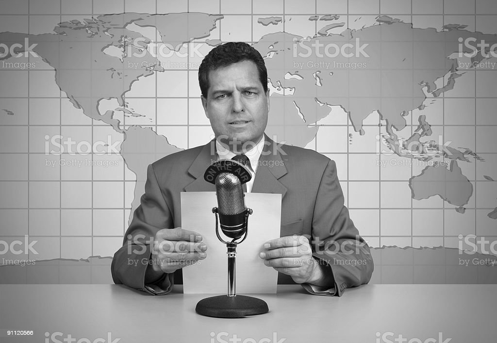 Black and white picture of a vintage newscast stock photo