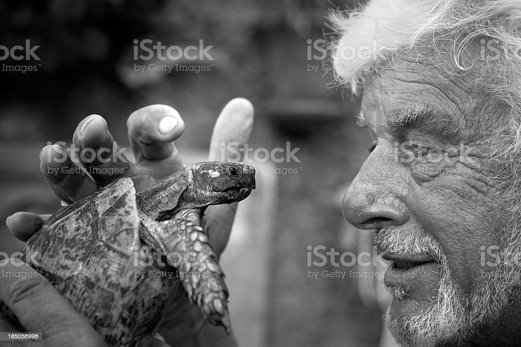 Black and white picture of an elderly man holding a turtle stock photo