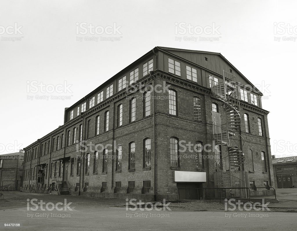 Black and white picture of an industrial building royalty-free stock photo