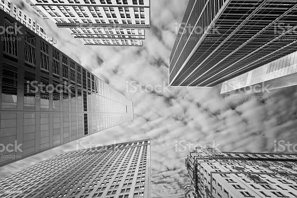 Black and white picture of New York skyscrapers, USA stock photo