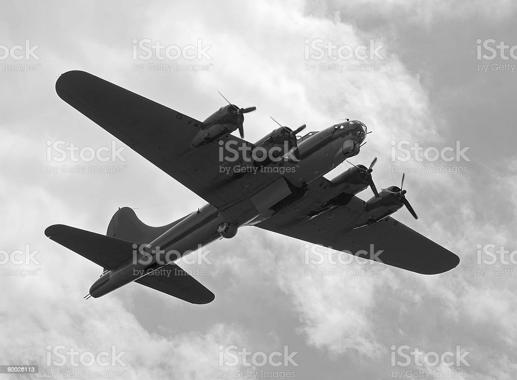 Black and white picture of old bomber plane royalty-free stock photo