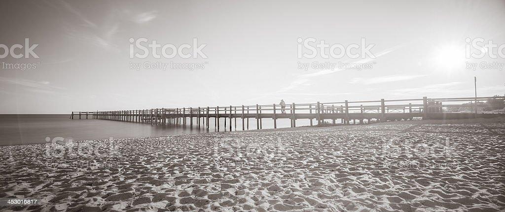 Black and white pier outside of Trelleborg port, Sweden (XXXLarge) royalty-free stock photo