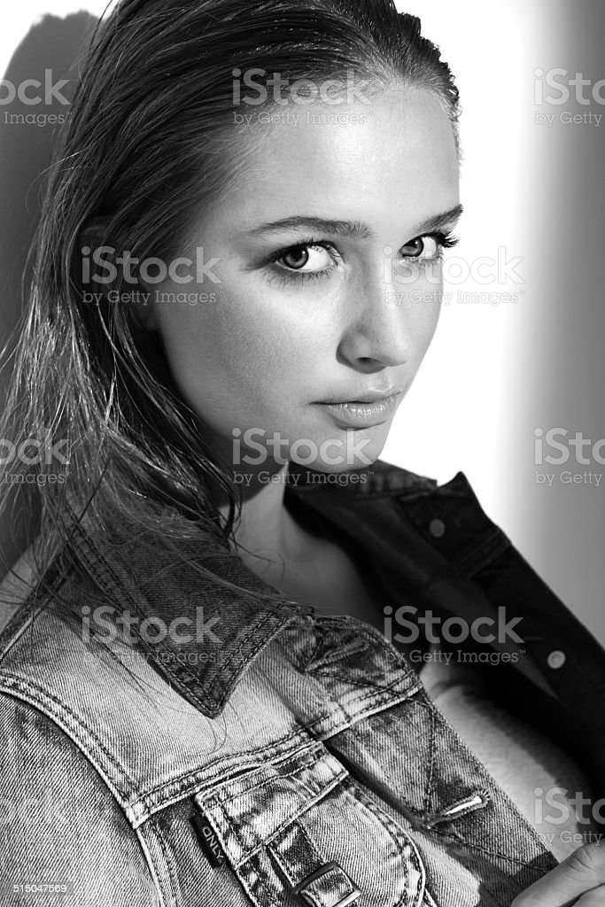 Black and white portrait of a beautiful young adult stock photo