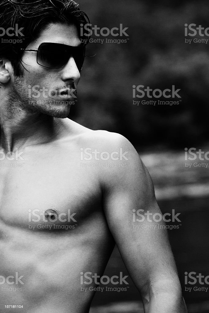 Black and White Portrait of a Male Model royalty-free stock photo