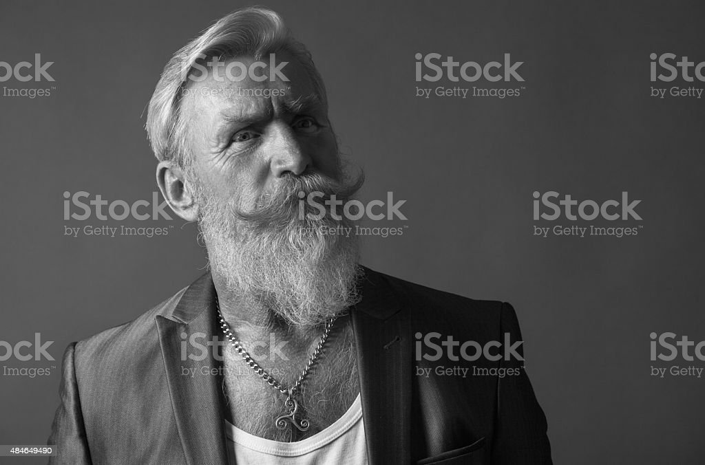 Black and White Portrait of a man with beard stock photo