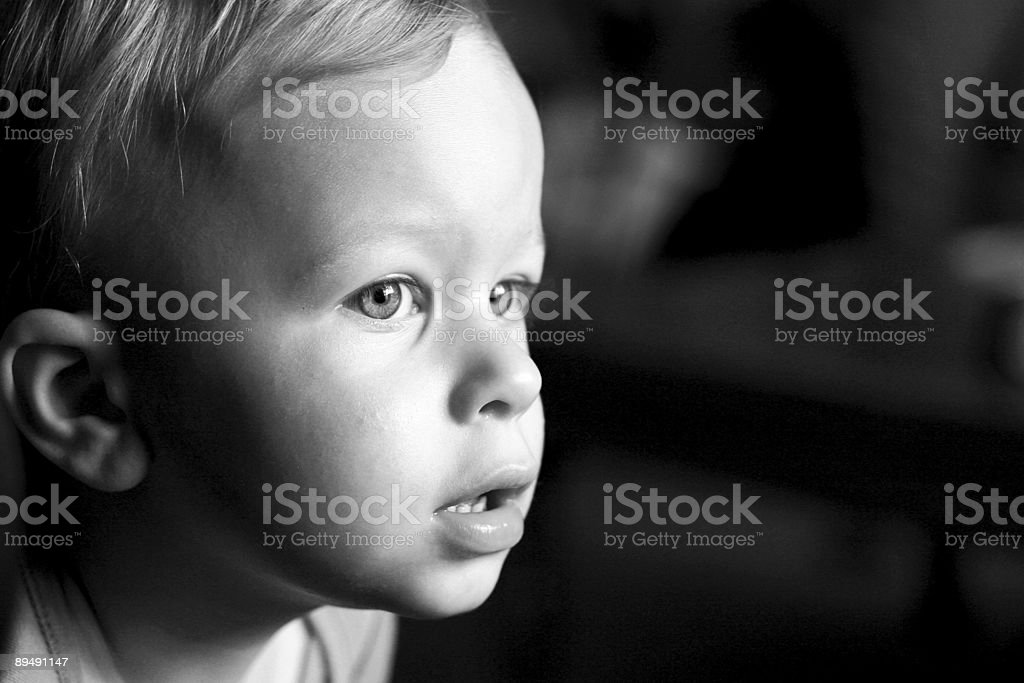 Black and white portrait of a young boy royalty-free stock photo