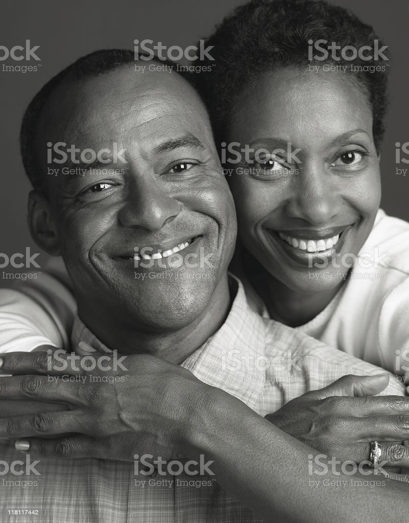 Black and White Portrait of African American Husband Wife royalty-free stock photo