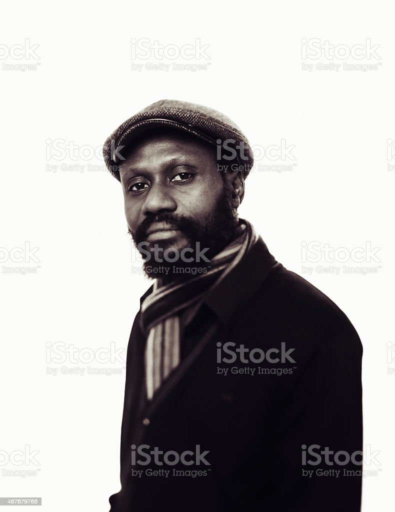 Black and White portrait of an african mid age man. stock photo