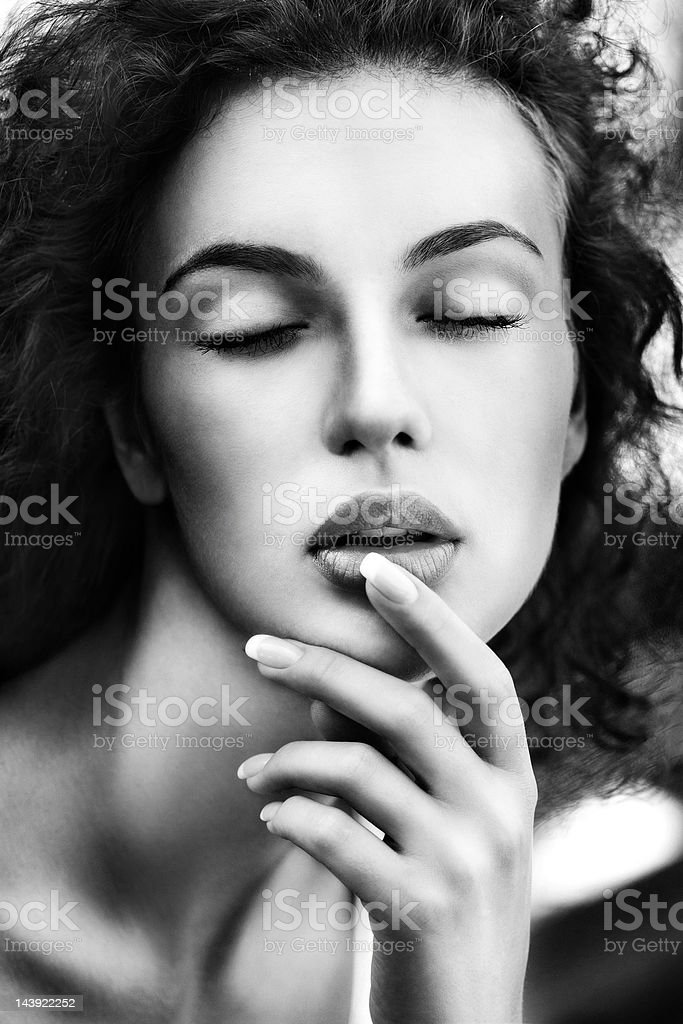 Black and white portrait of beautiful woman royalty-free stock photo