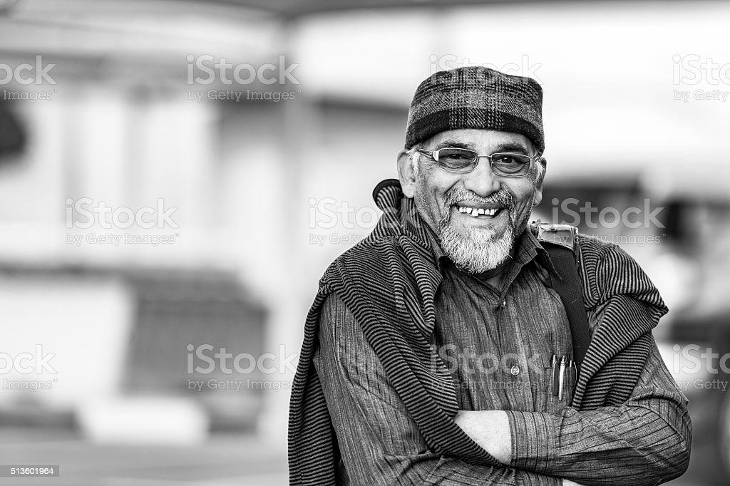 Black and white portrait of Elderly Indian Gentlemen stock photo