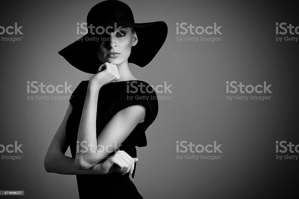 black and white portrait of elegant woman stock photo