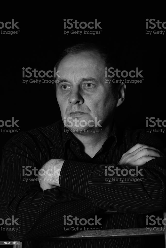 Black and white portrait of mature caucasian man stock photo