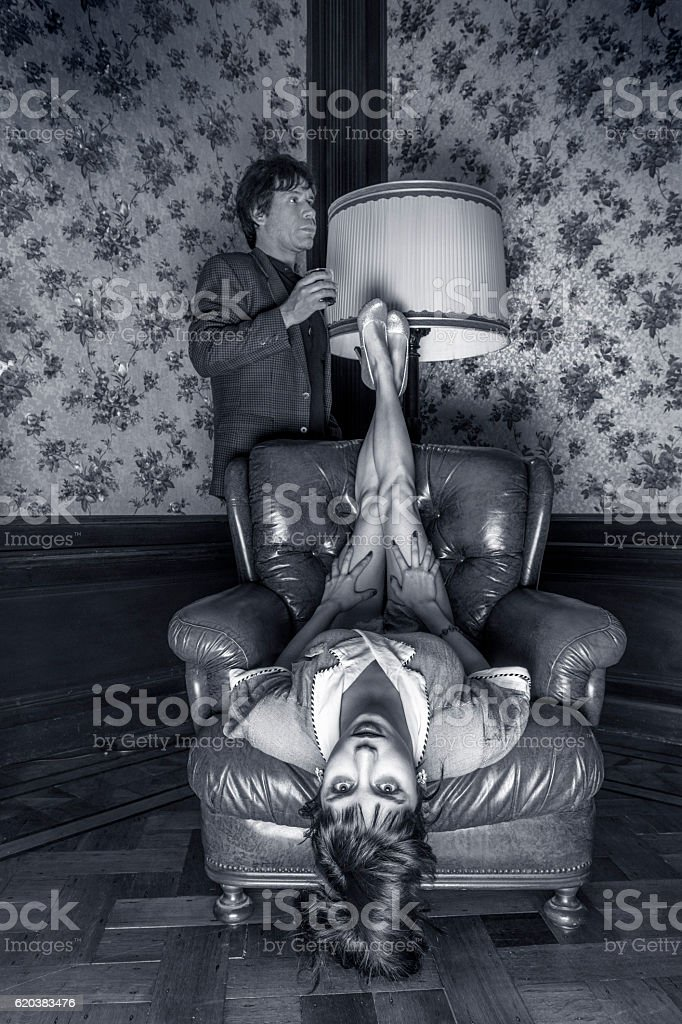 black and white Portrait of odd couple stock photo