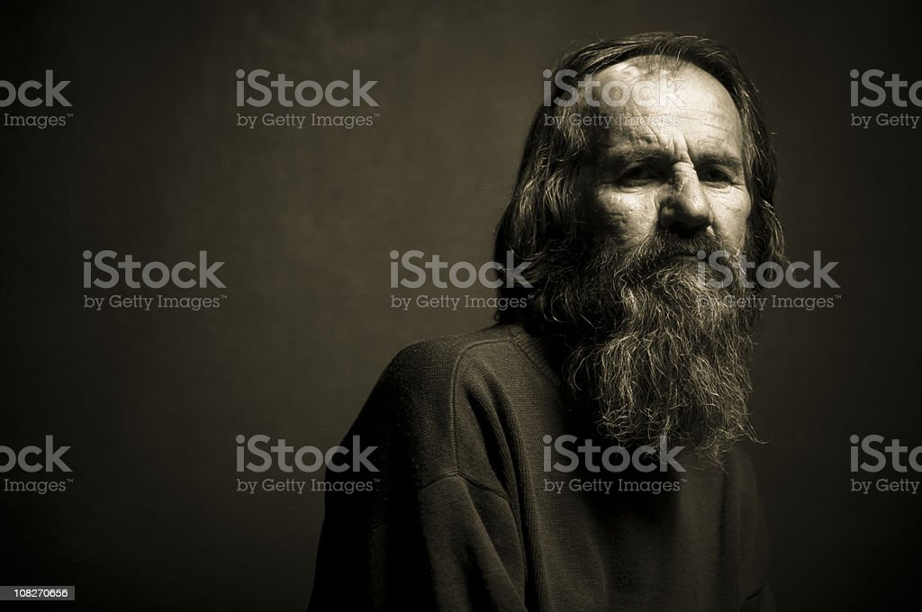 Black and White Portrait of Senior Man with Long Beard royalty-free stock photo