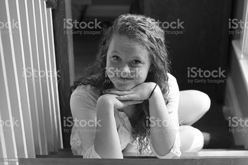 Black and White Portrait of Sixteen Year Old Girl stock photo