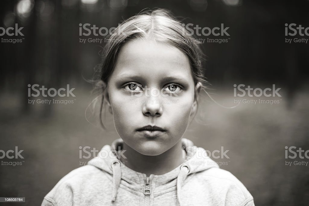 Black and white portrait of tired little girl stock photo