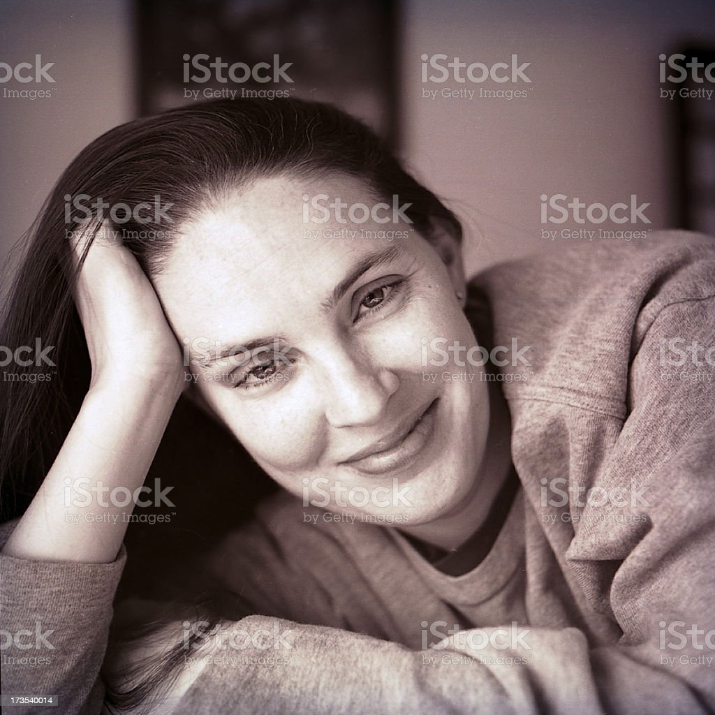 Black and White portrait of woman royalty-free stock photo