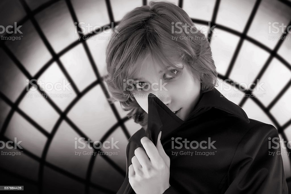Black and white portrait of woman stock photo
