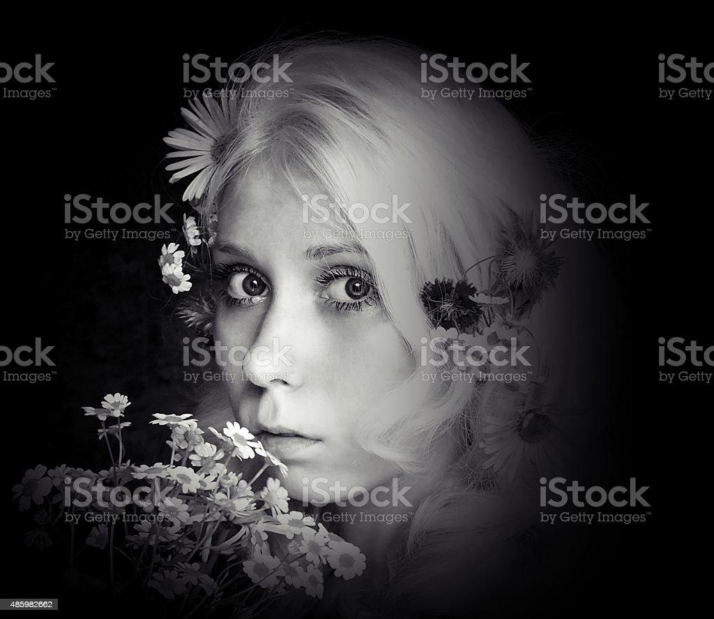 black and white portrait stock photo