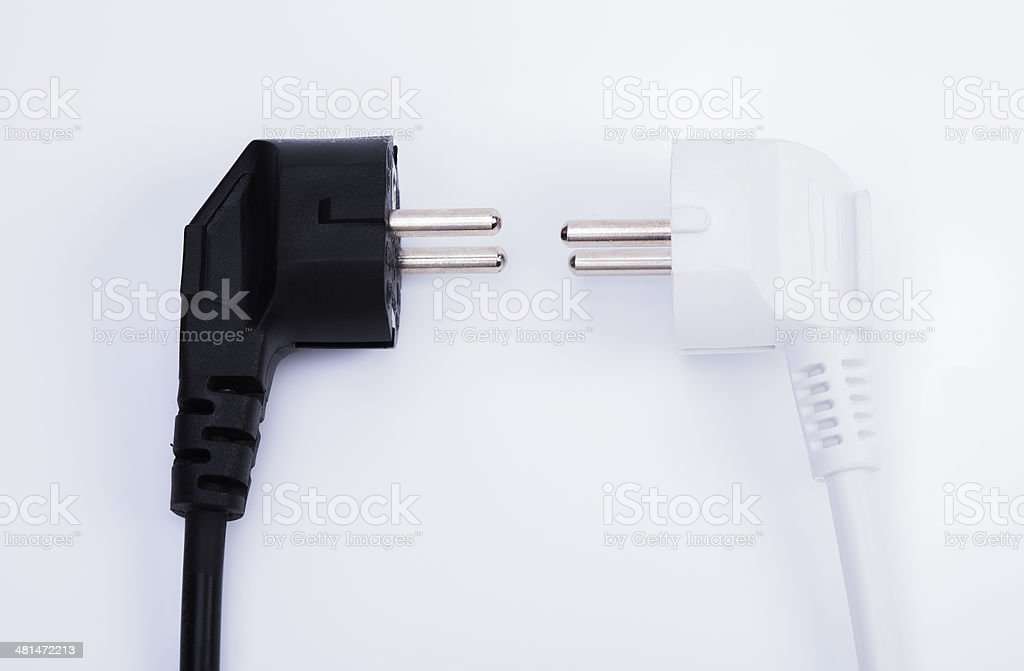 Black and white power plug stock photo