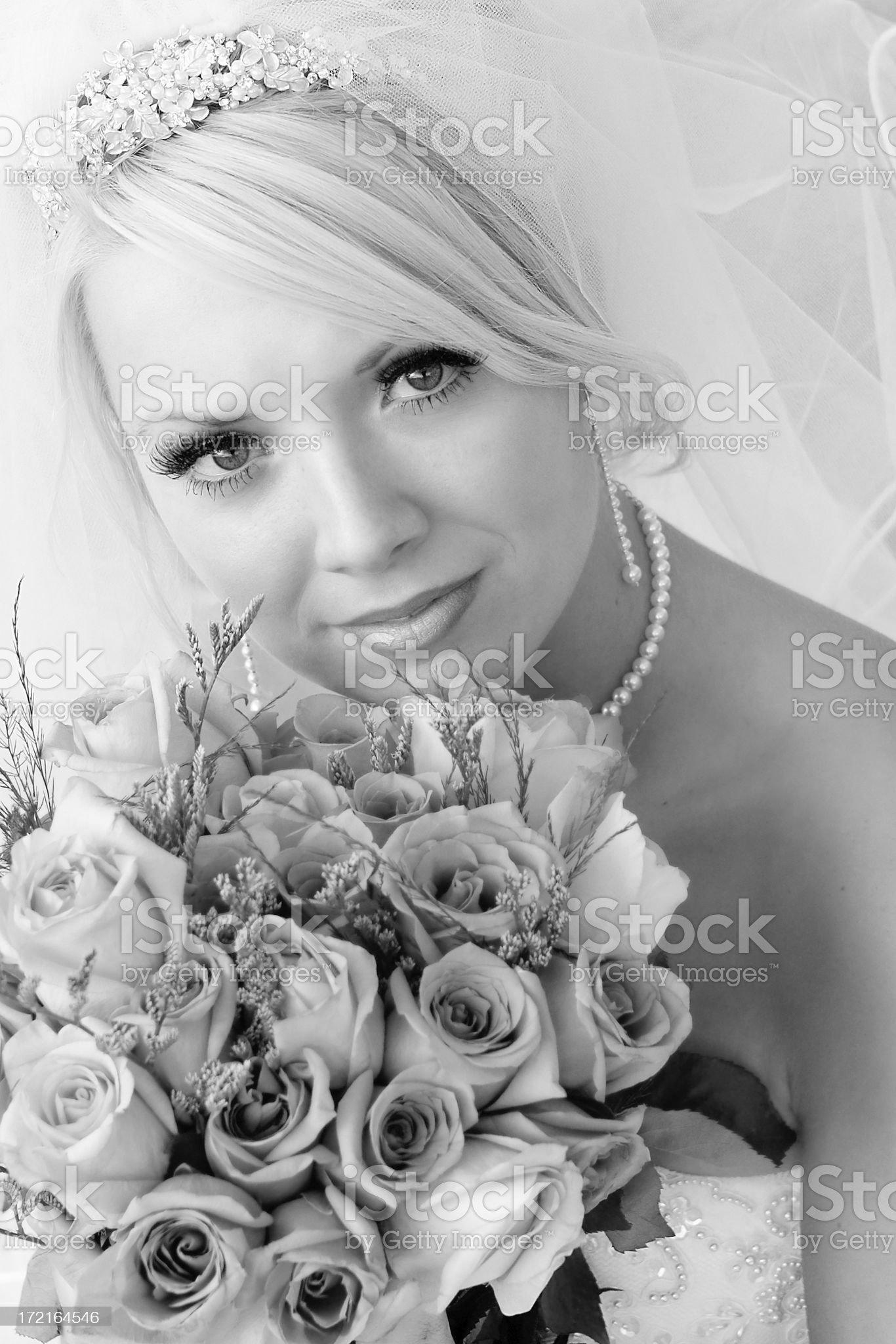 Black and White Pretty Bride royalty-free stock photo