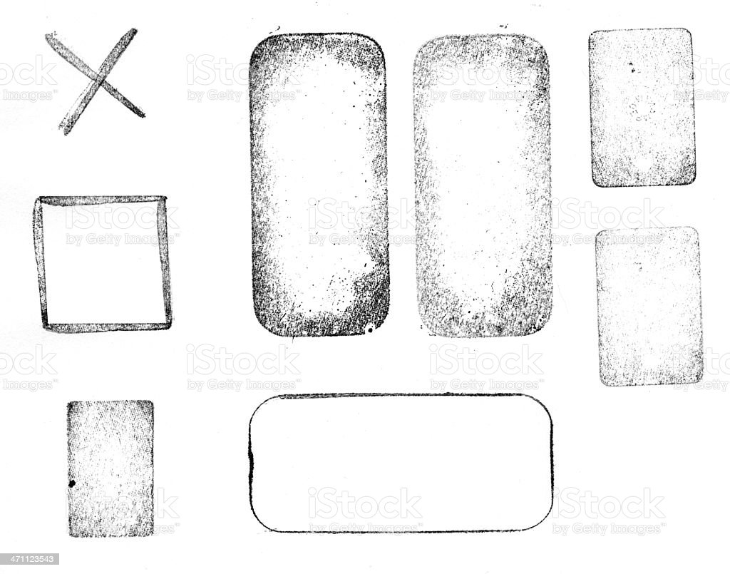 Black and white printed letterpress shapes stock photo