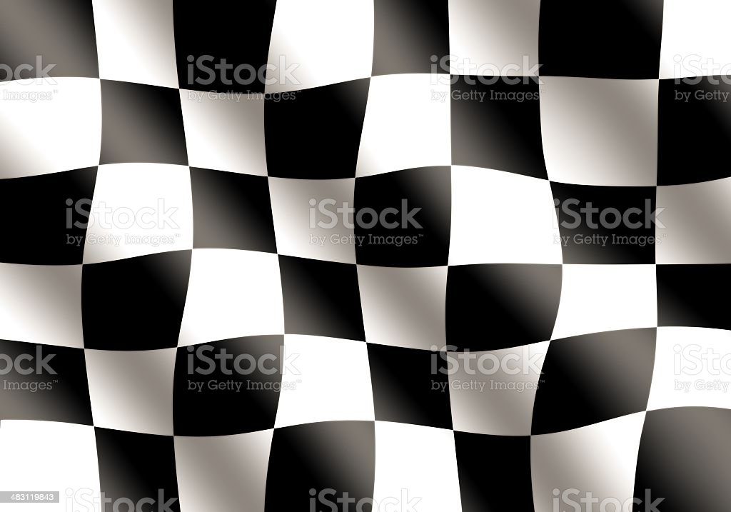 Black and White Racing Flag Waving stock photo