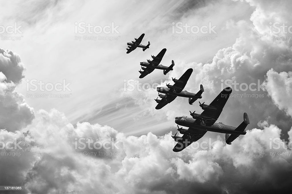 Black and white retro image Battle of Britain WW2 airplanes stock photo