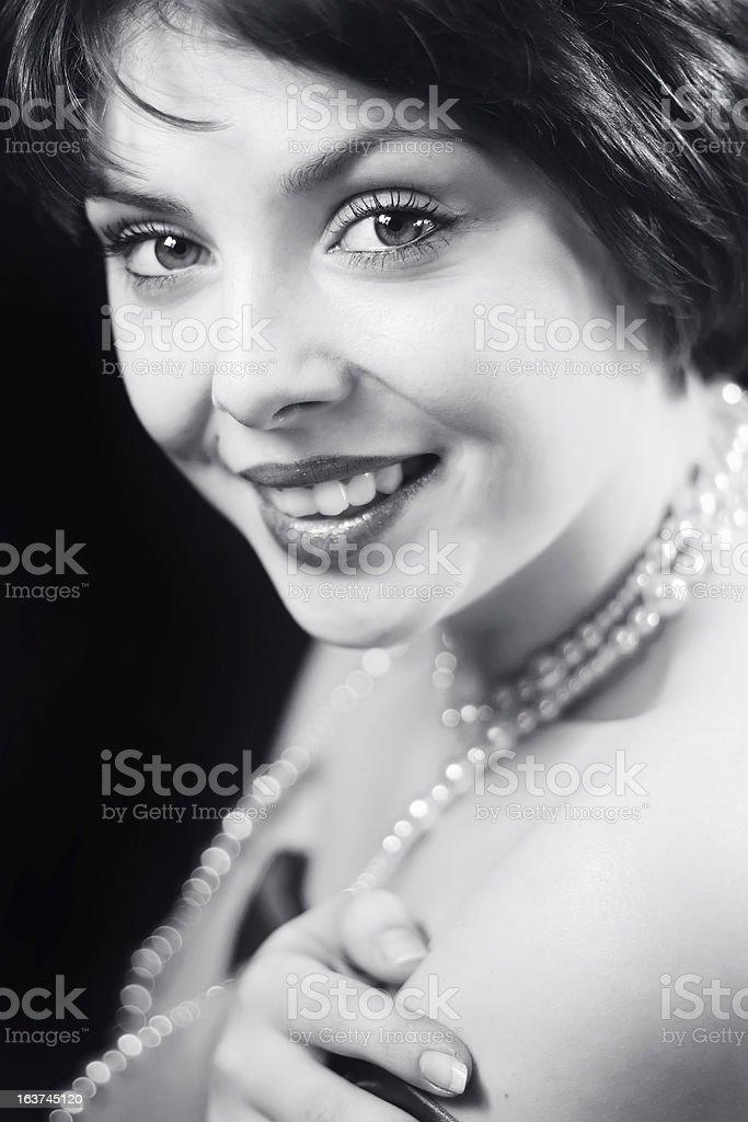 Black and white retro portrait of beautiful woman royalty-free stock photo