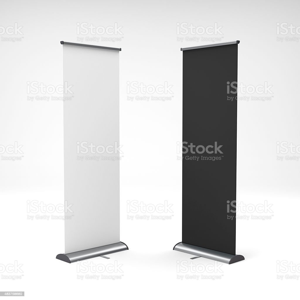 black and white rollup or banners stock photo