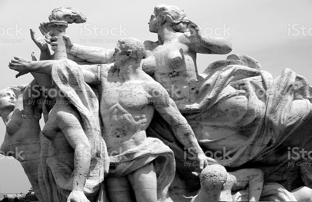 Black and White Rome Statue royalty-free stock photo