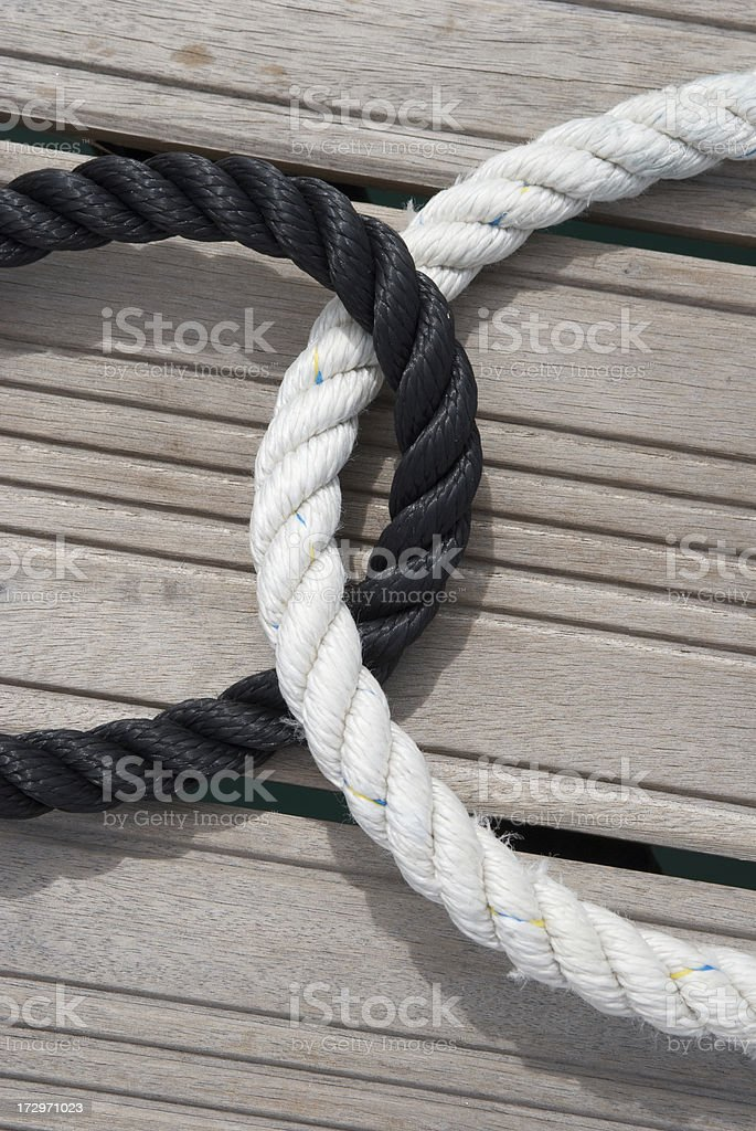 Black and White Rope Embrace royalty-free stock photo