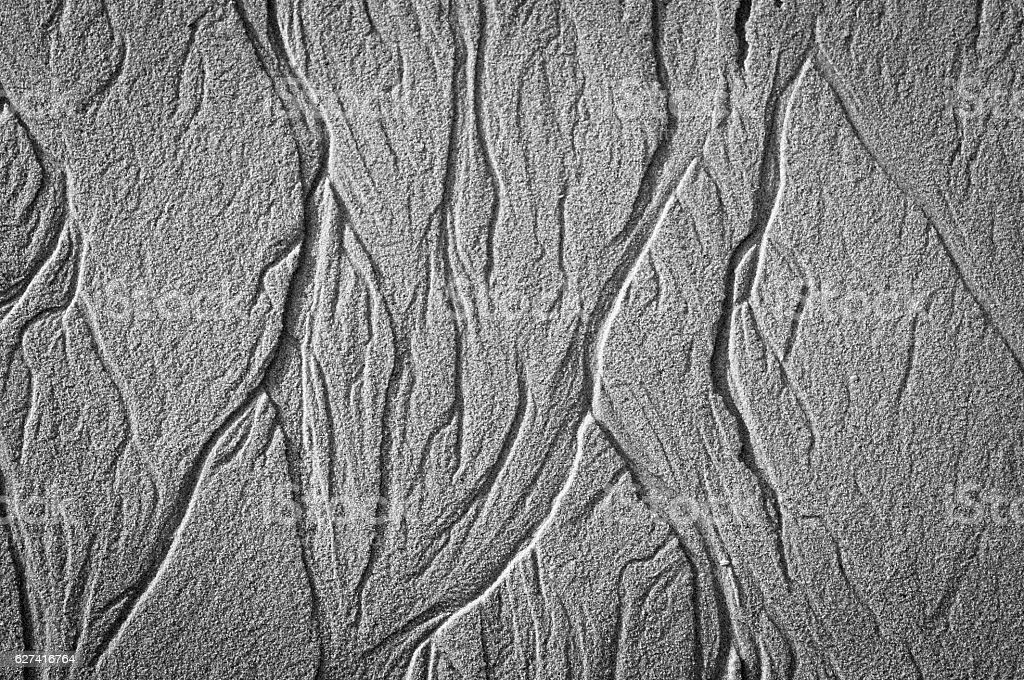 Black and white sand pattern stock photo