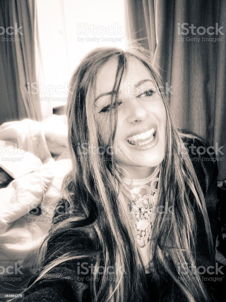 Black and white selfie of a smiling woman stock photo
