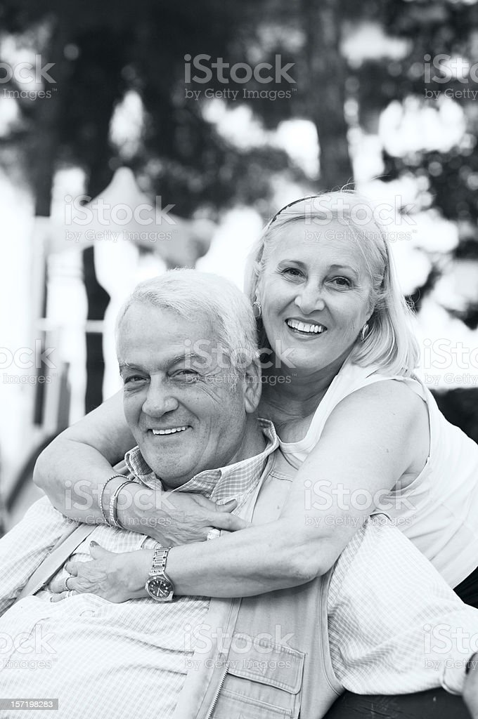 Black and white senior couple royalty-free stock photo