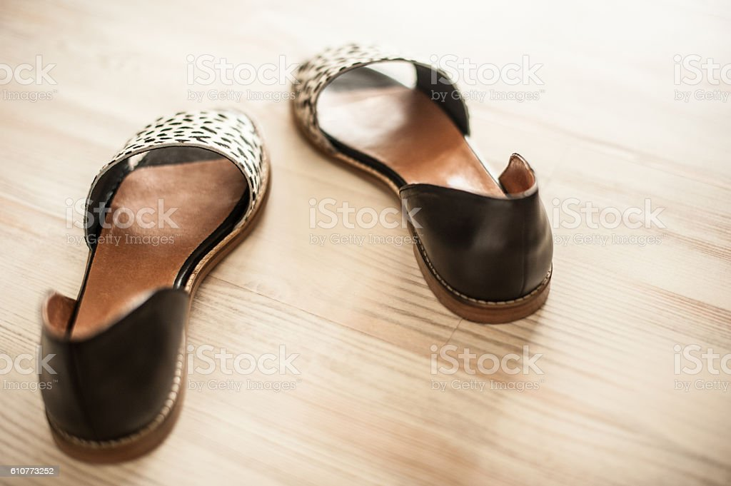 Black and white shoes stock photo