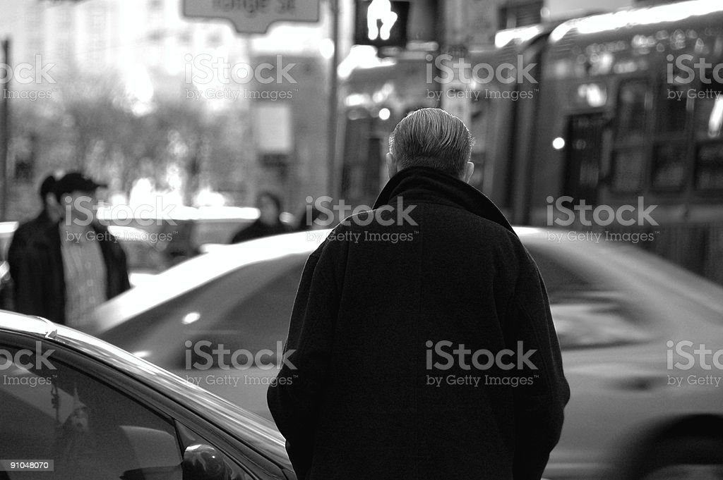 Black and white shot of a man on the street royalty-free stock photo