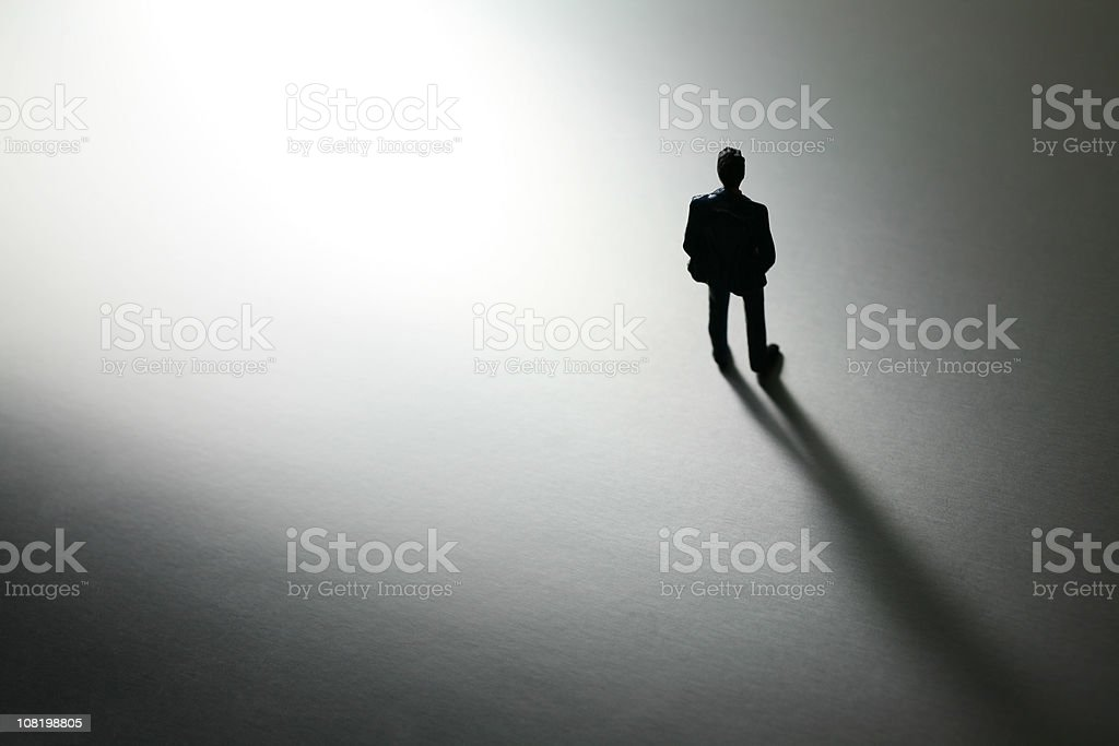 Black and White Shot of Plastic Toy Businessman, Low Key stock photo
