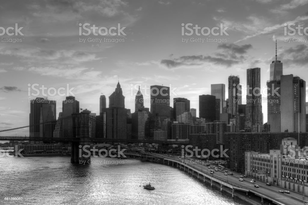 Black and white skyline view of downtown Manhattan skyscrapers in New York City stock photo